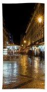 Lisbon Portugal Night Magic - Nighttime Shopping In Baixa Pombalina Bath Towel