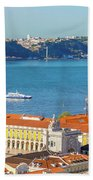 Lisbon Tagus River Skyline Bath Towel