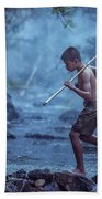 Little Asian Kid Fishing In The River Countryside Thailand. Bath Towel