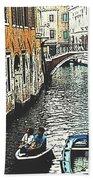 Little Boat In Venice Bath Towel