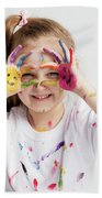 Little Girl Covered In Paint Making Funny Faces. Bath Towel
