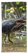 Little Green Heron With Fish Hand Towel