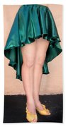 Ameynra Fashion Satin High Low Skirt, Dark-green Bath Towel