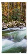 Little Pigeon River In Fall In The Smokies Bath Towel