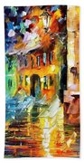 Little Street - Palette Knife Oil Painting On Canvas By Leonid Afremov Bath Towel