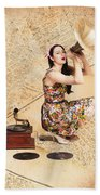 Live Music Pinup Singer Performing On Gig Guide Bath Towel