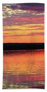 Loan Boat On A River At Sunset Bath Towel