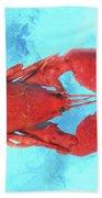 Lobster On Turquoise Bath Towel