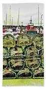 Lobster Pots Kilmore Quay, Wexford, Ireland Poster Effect 1b Bath Towel