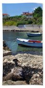 Local Boats In Harbour Bath Towel