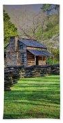 Log Cabin, Smoky Mountains, Tennessee Bath Towel