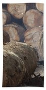 Logger Cutting Tree Trunk, Cameroon Bath Towel