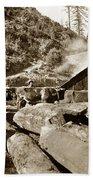 Logging With Oxen At A Saw Mill Sonoma County California Circa 1900 Bath Towel