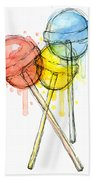 Lollipop Candy Watercolor Hand Towel by Olga Shvartsur