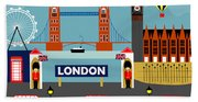 London England Horizontal Scene - Collage Bath Towel