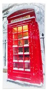 London Red Telephone Booth  Bath Towel