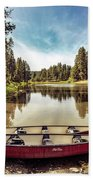 Lone Canoes, Winchester Lake Bath Towel