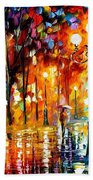 Lonely Night 3 - Palette Knife Oil Painting On Canvas By Leonid Afremov Bath Towel