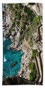 Long And Twisted Walk To The Shore - Azure Magic Of Capri Bath Towel