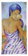 Long Impasto Motherhood Vertical Painting  Bath Towel