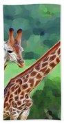Long Necked Giraffes 2 Hand Towel