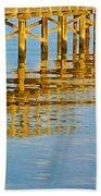 Long Wooden Pier Reflections Bath Towel