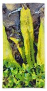 Long Yellow Leaves Bath Towel