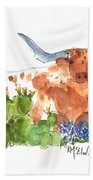 Longhorn In The Cactus And Bluebonnets Lh014 Kathleen Mcelwaine Bath Towel