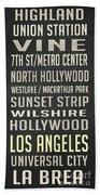 Los Angeles Vintage Places Poster Bath Towel