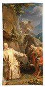 Louis Galloche - Saint Martin Sharing His Coat With A Beggar Hand Towel