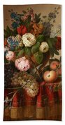 Louis Vidal, Still Life With Flowers And Fruit Bath Towel