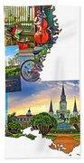 Louisiana Map - New Orleans Bath Towel