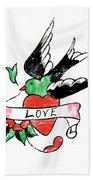 Love Bird Tattoo Bath Towel