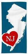Love New Jersey White Bath Towel