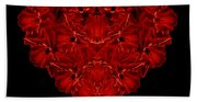 Love Red Floral Heart Hand Towel