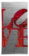 Love Sign Philadelphia Recycled Red Vintage License Plates On Aluminum Sheet Bath Towel