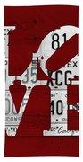 Love Sign Vintage License Plates On Red Barn Wood Bath Towel