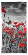 Lovely Field Of Poppies With Sun  Bath Towel