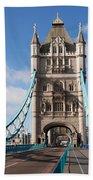 Low Angle View Of Tower Bridge, London Bath Towel