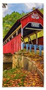 Lower Humbert Covered Bridge 2 - Paint Bath Towel