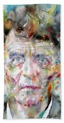 Ludwig Wittgenstein - Watercolor Portrait.2 Bath Towel