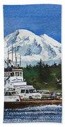 Lummi Island Ferry And Mt Baker Bath Towel