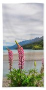 Lupin Flowers In Alpine Scenery At Kinloch, Nz. Bath Towel