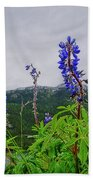 Lupine And Mountains Bath Towel