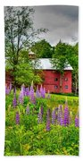 Lupines And The Red Barn Bath Towel