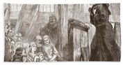 Luther Preaching In The Old Wooden Church At Wittemberg Hand Towel
