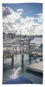 Luxury Boats Moored At Naples Island, Long Beach, Ca Hand Towel
