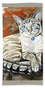 Lynx Point Siamese Cat Painting Bath Towel