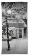 Mablehead Market Square Snowstorm Old Town Evening Black And White Painterly Bath Towel