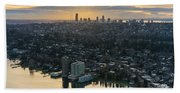 Madison Park And The Seattle Skyline Bath Towel